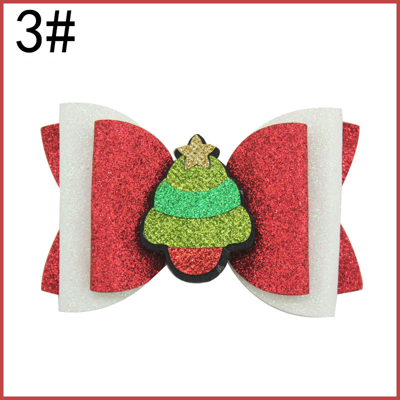 4.5'' big glitter christmas hair bows Thanksgiving Day Glitter