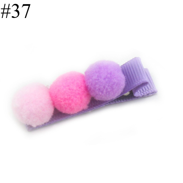 pompom lined hair clips baby hair clips