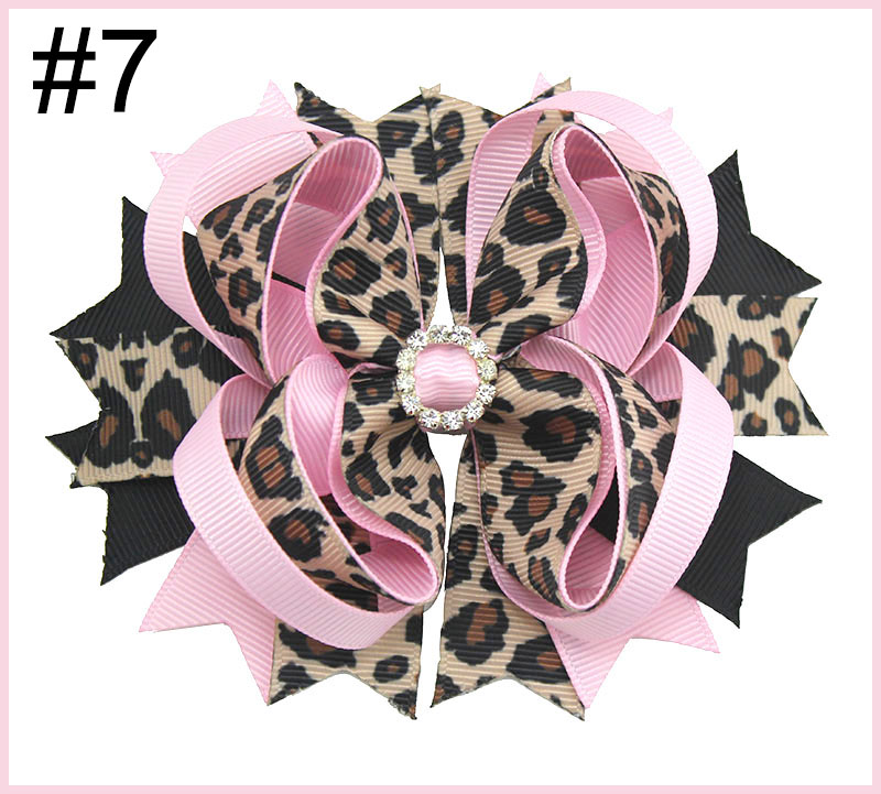 4.5'' leopard Print Hair bow animal print bows cheetah hair acce
