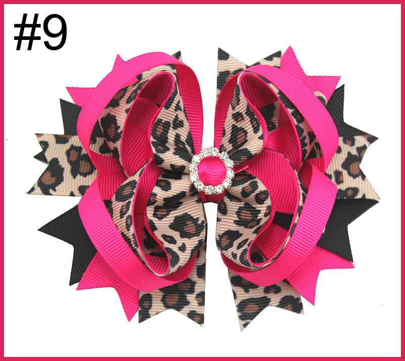 4.5'' leopard Print Hair bow animal print bows cheetah hair