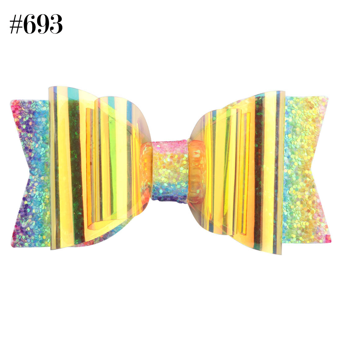 girls party glitter PVC bowknot hair clip