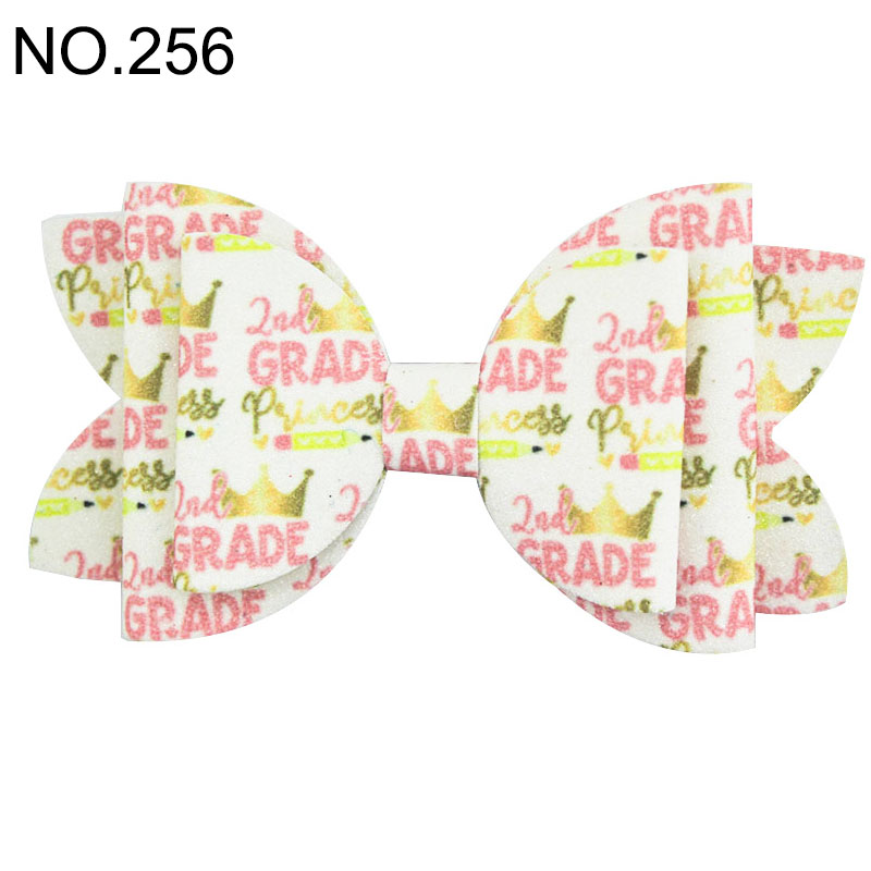 4.5'' back to school glitter hair bows pencil glitter bows