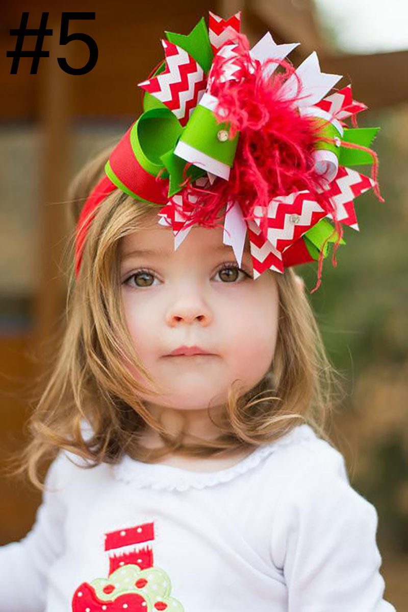 Baby Kids christmas ostrich Feather Hair Bows