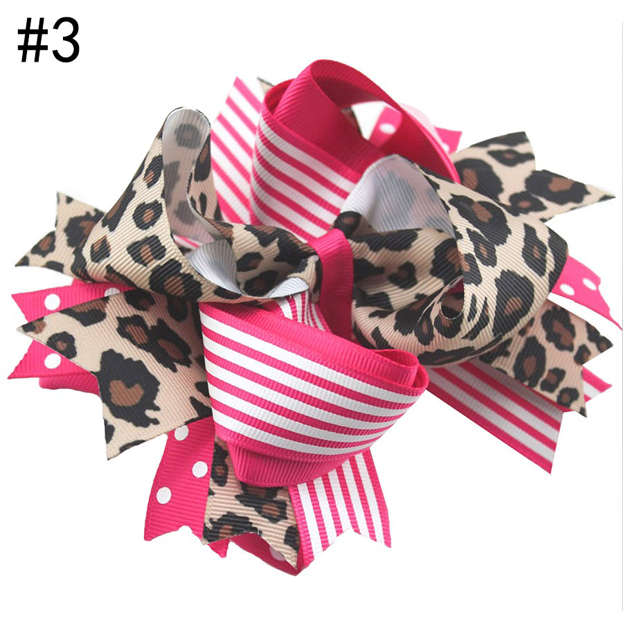 5.5-6''leopard big girl hair Bows Accessories With Clip Boutique