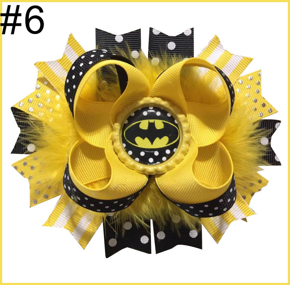 4.5-5.5'' batman inspired hair bow stacked batgirl hair bow