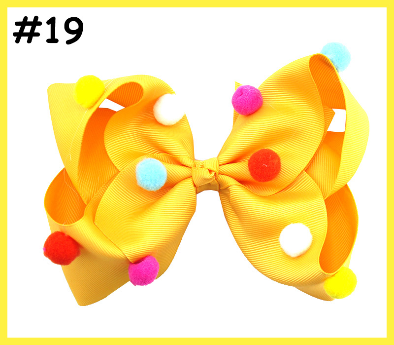 6'' pom pom hair bows fall hair clips