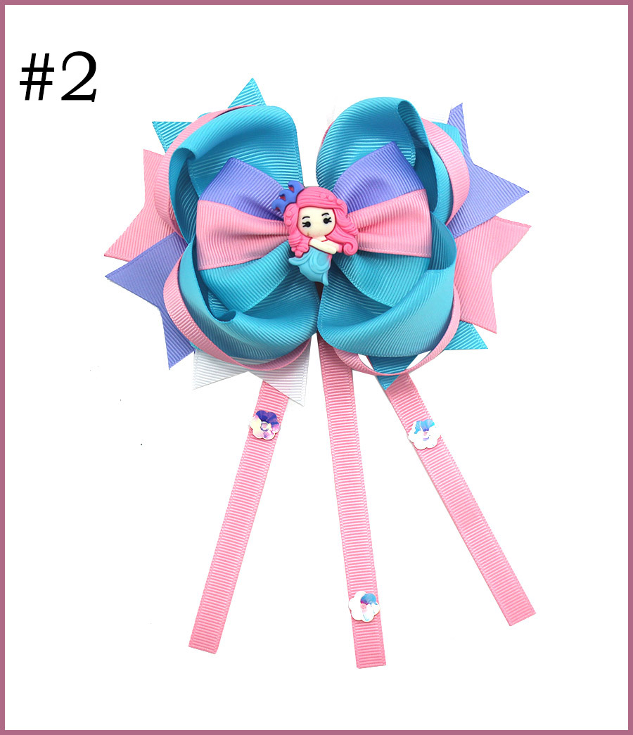 5.5'' Little princess girl hair bows big glitter doll baby hair