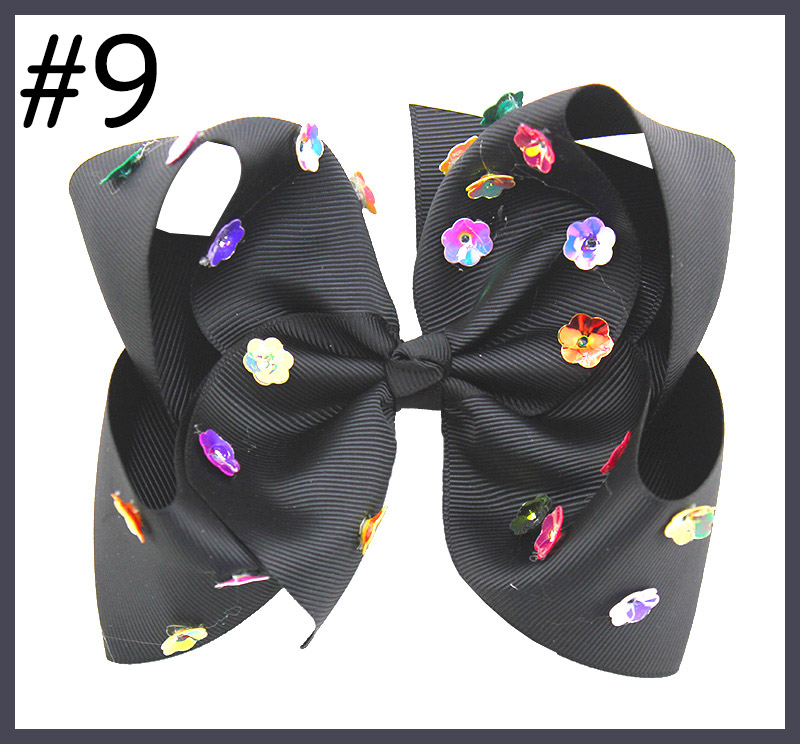 6'' summer neon color hair bows with sequin flower on top