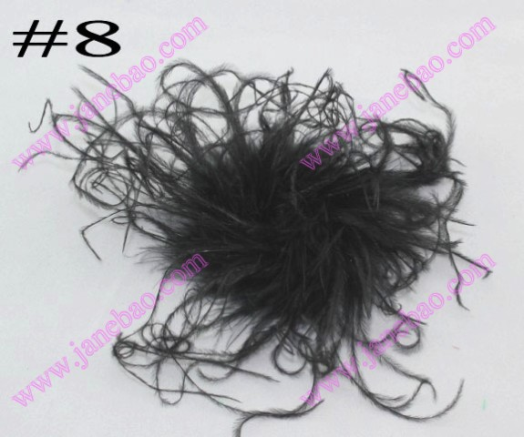 5'' curly feather hair bows
