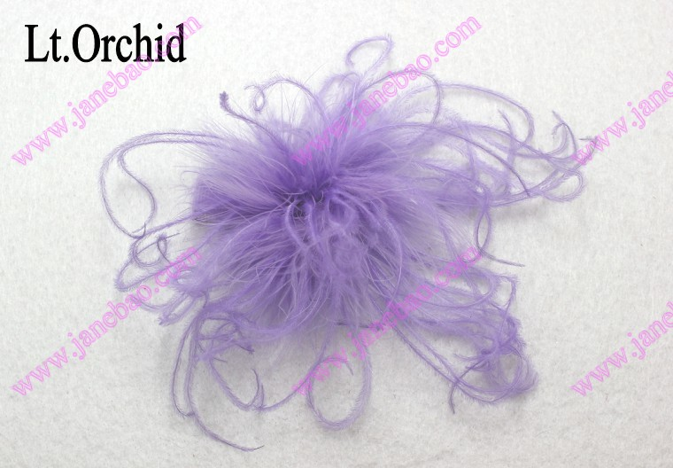 3'' curly feather hair bows